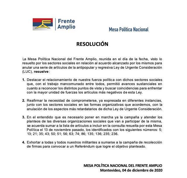 Frente Amplio referendum Luc
